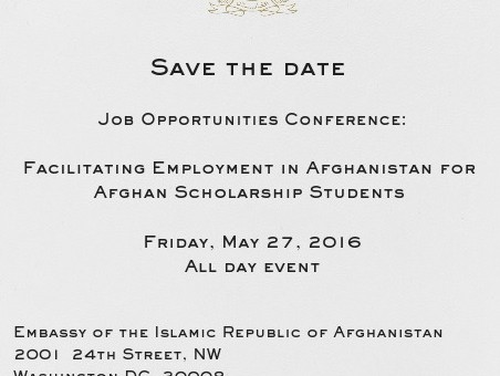 Save the Date: Job Opportunities Conference at the Embassy of Afghanistan
