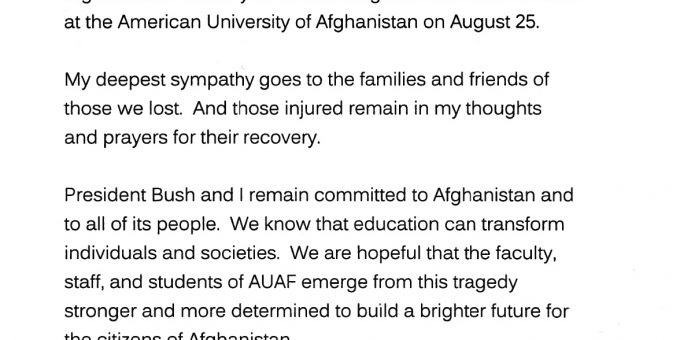 Laura Bush Honors AUAF Victims during Memorial at the Embassy of Afghanistan