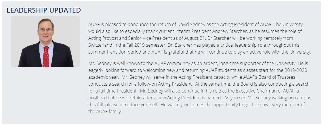 AUAF Announces Return of David Sedney as Acting President