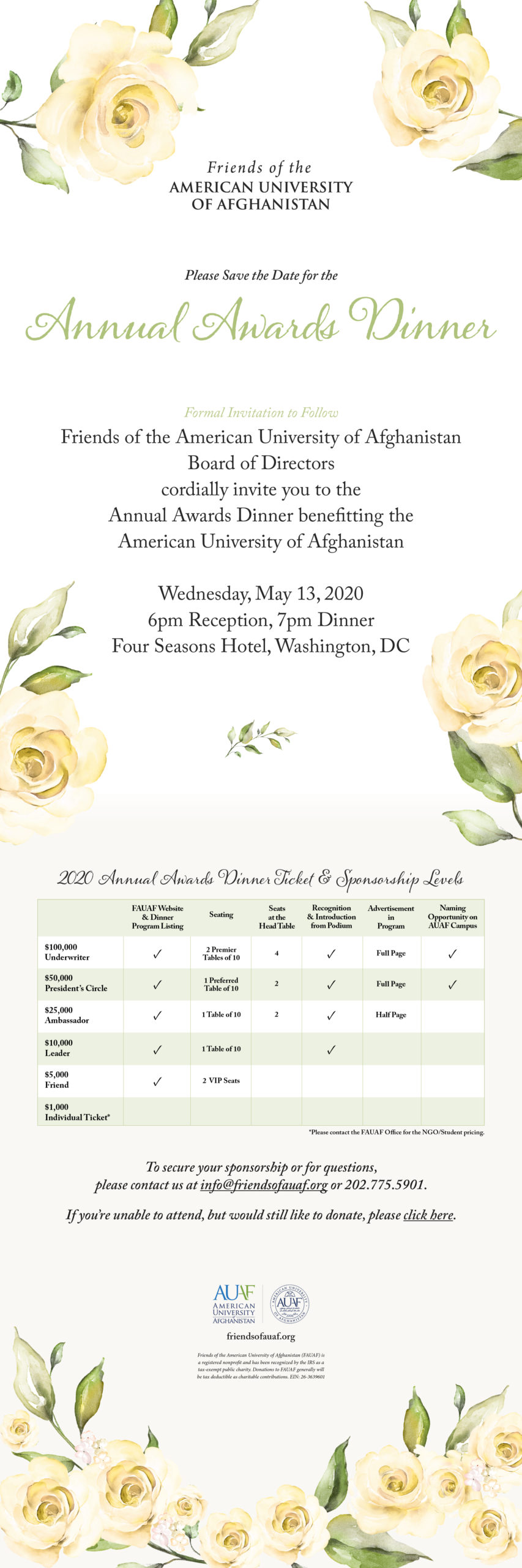 Save the Date for the Annual Awards Dinner on Wednesday, May 13, 2020 at the Four Seasons Hotel, Washington, DC.